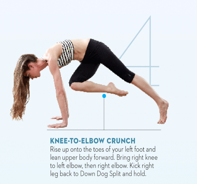 Tara-Stiles-yoga-workout-for-strength-knee-to-elbow-crunch-pose