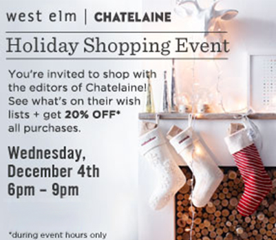 West Elm and Chatelaine holiday shopping event