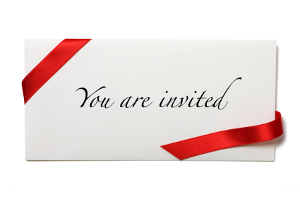 invitation card with red ribbon