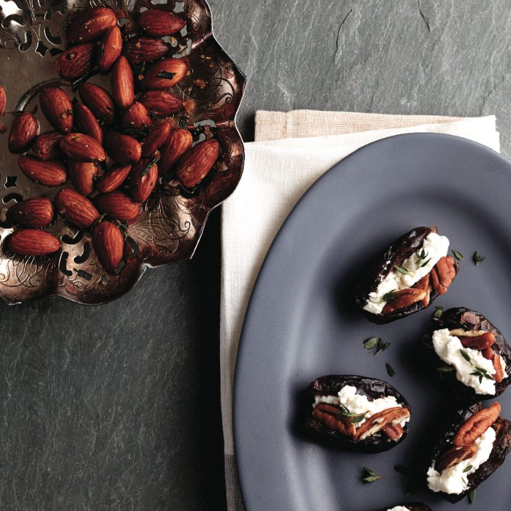 Stuffed dates and herbed almonds