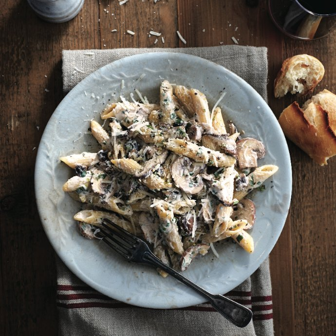 penne with ricotta and mushrooms