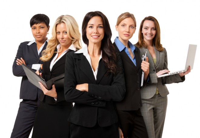 group of confident powerful businesswomen on white background