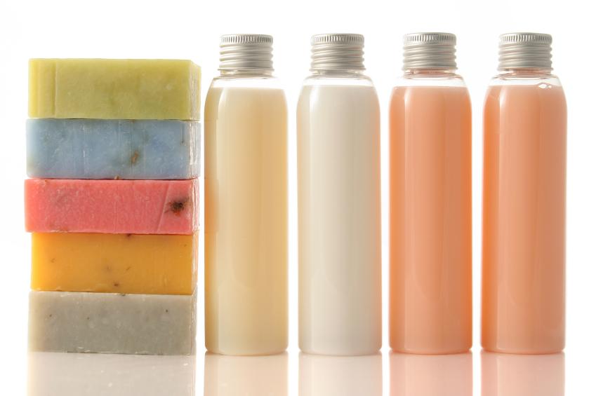 liquid soap and soap bars colourful