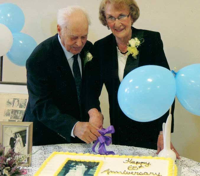 Ethelyn and George Mosher celebrate their 65th wedding anniversary.
