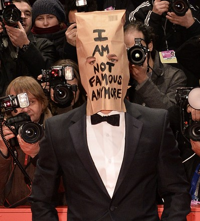 Shia LaBeouf Berlin Film Festival I Am Not Famous Anymore paper bag hat