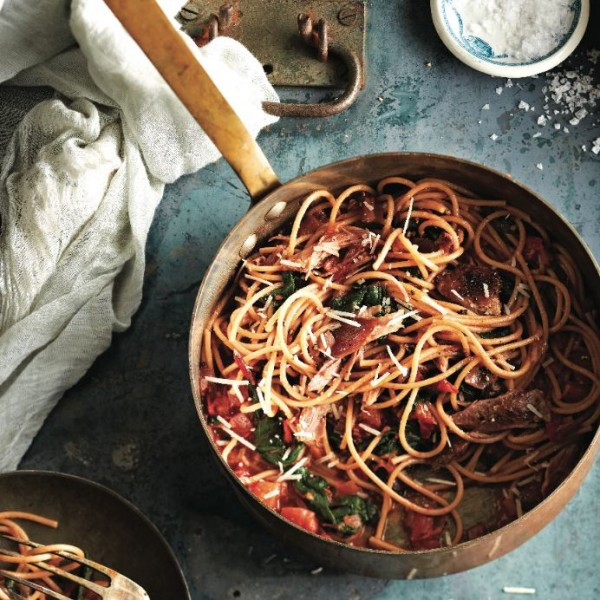 Spaghetti with duck confit and chard