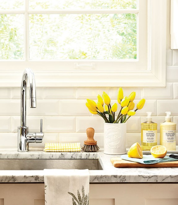 Kitchen Marble Counter Flower Vase Yellow Tulips Window Cutting Board  Spring Cleaning Organized Sink