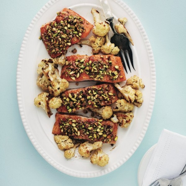 Apricot-pistachio salmon with roasted cauliflower