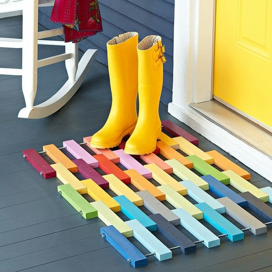 Multi-coloured wood door mat Etsy