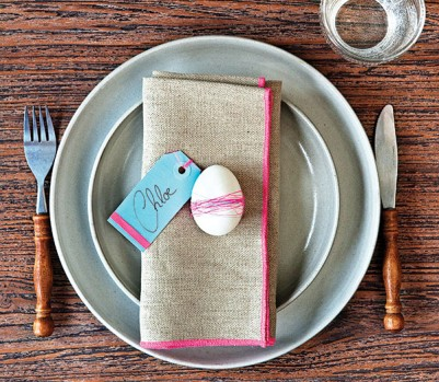 Easter place setting with egg decoration