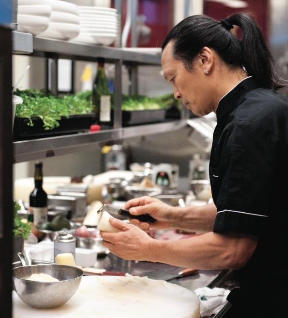 Chef Susur Lee in the kitchen of Lee's Restaurant.