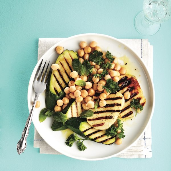Grilled haloumi, zucchini and chickpea salad