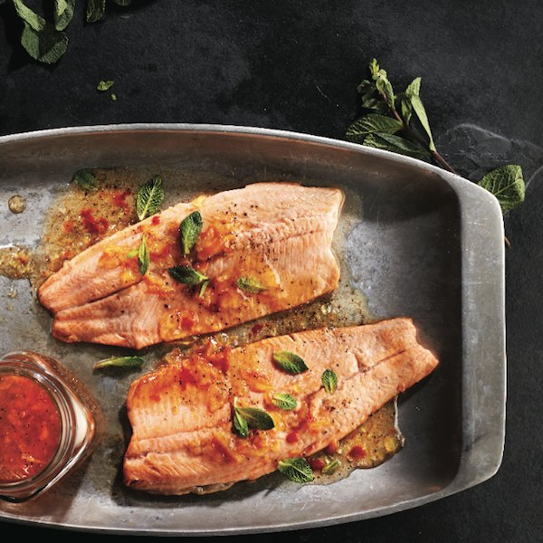 Sweet and spicy rainbow trout.