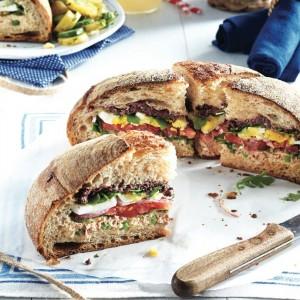 Nicoise muffuletta sandwich.