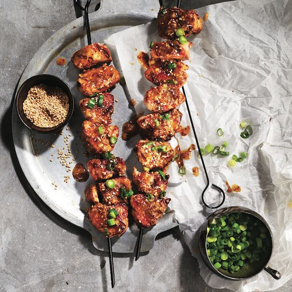 Miso-maple pork skewers