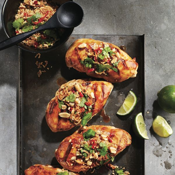Hoisin-peanut chicken.