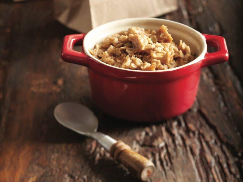 Oatmeal recipe: Red bowl of apple cinnamon instant oatmeal