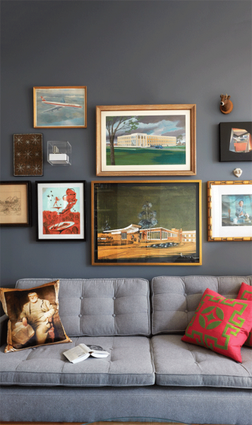 vintage-wall-art-different-frames-grey-living room tuft couch sofa