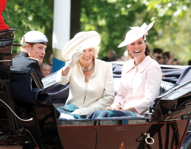 Duchess-of-Cornwall-in-carriage-with-Prince-Harry-and-the-Duchess-of-Cambridge-at-Trooping-the-Colour
