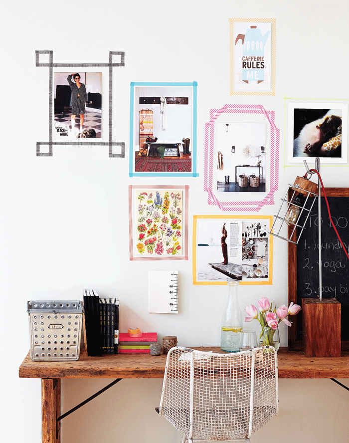 Modern-gallery-wall-art-frames-with-washi-tape