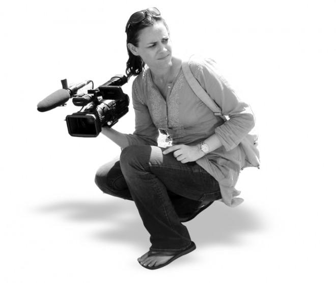 Journalist Tara Sutton in the field