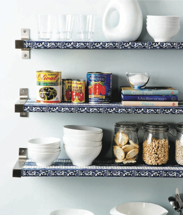 open kitchen shelves with laminate shelf liners