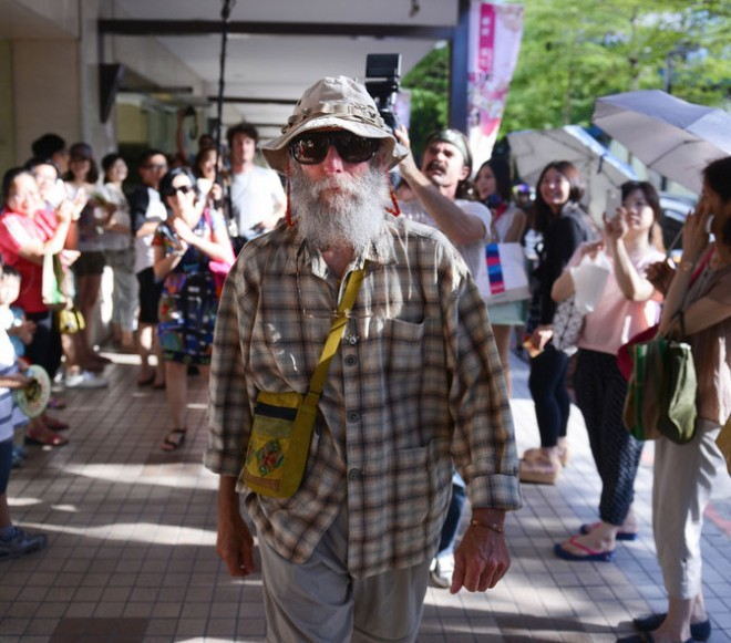 Burt Shavitz on a trip to Taiwan to promote Burt's Bees.