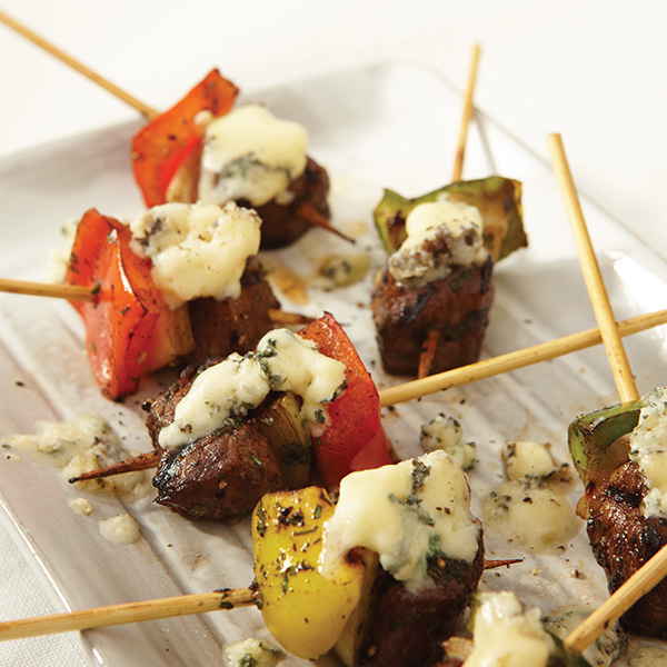 Beef and blue cheese brochettes