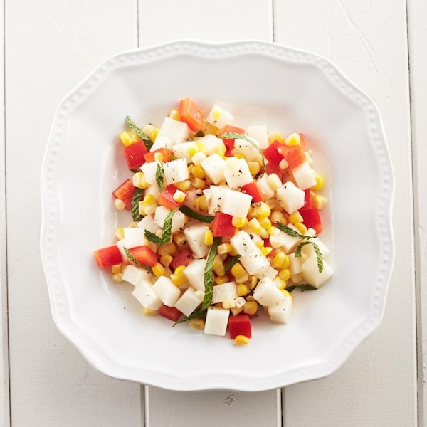 Jicama, corn and pepper salad