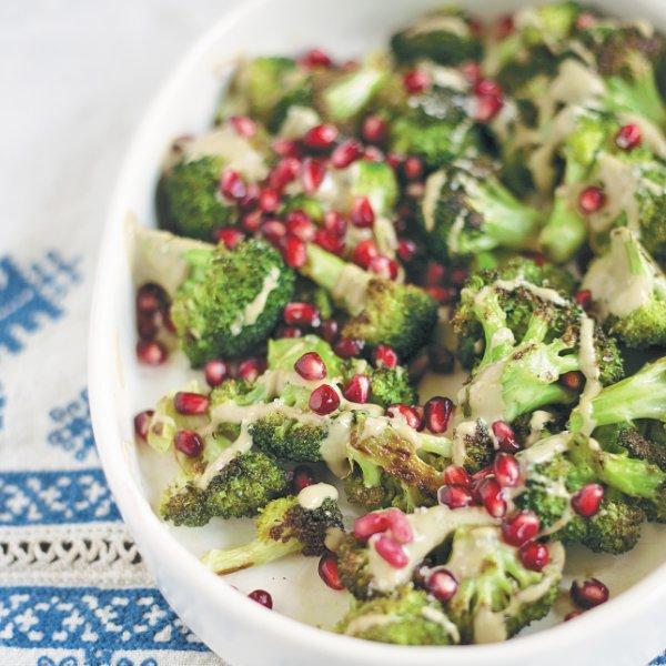 Roasted Broccoli with Pomegranate and Tahini