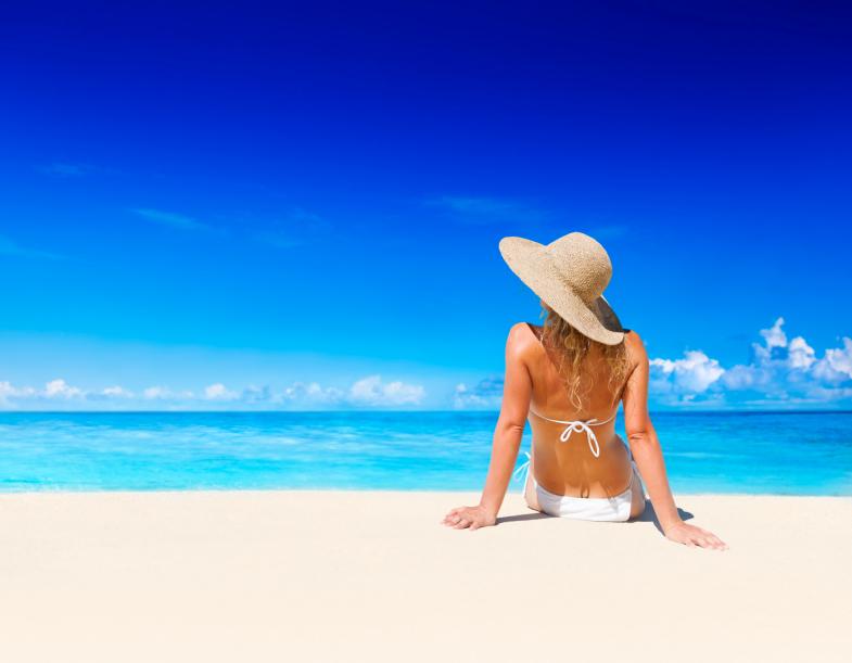 woman on beach vacation