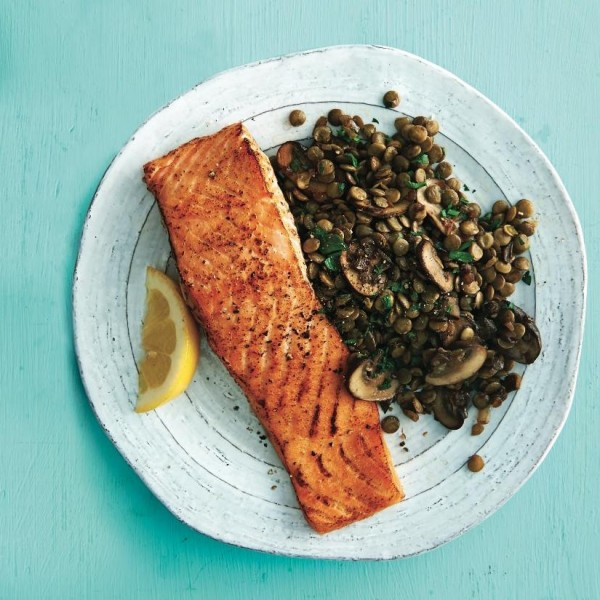 Cedar plank salmon with french lentils.
