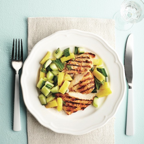 Citrus grilled chicken with pineapple salad.
