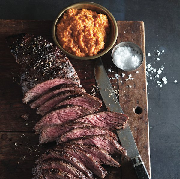 Steak with romesco sauce