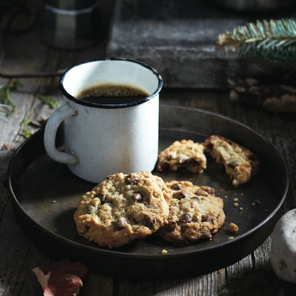 chocolate chip oatmeal cookies served with coffee