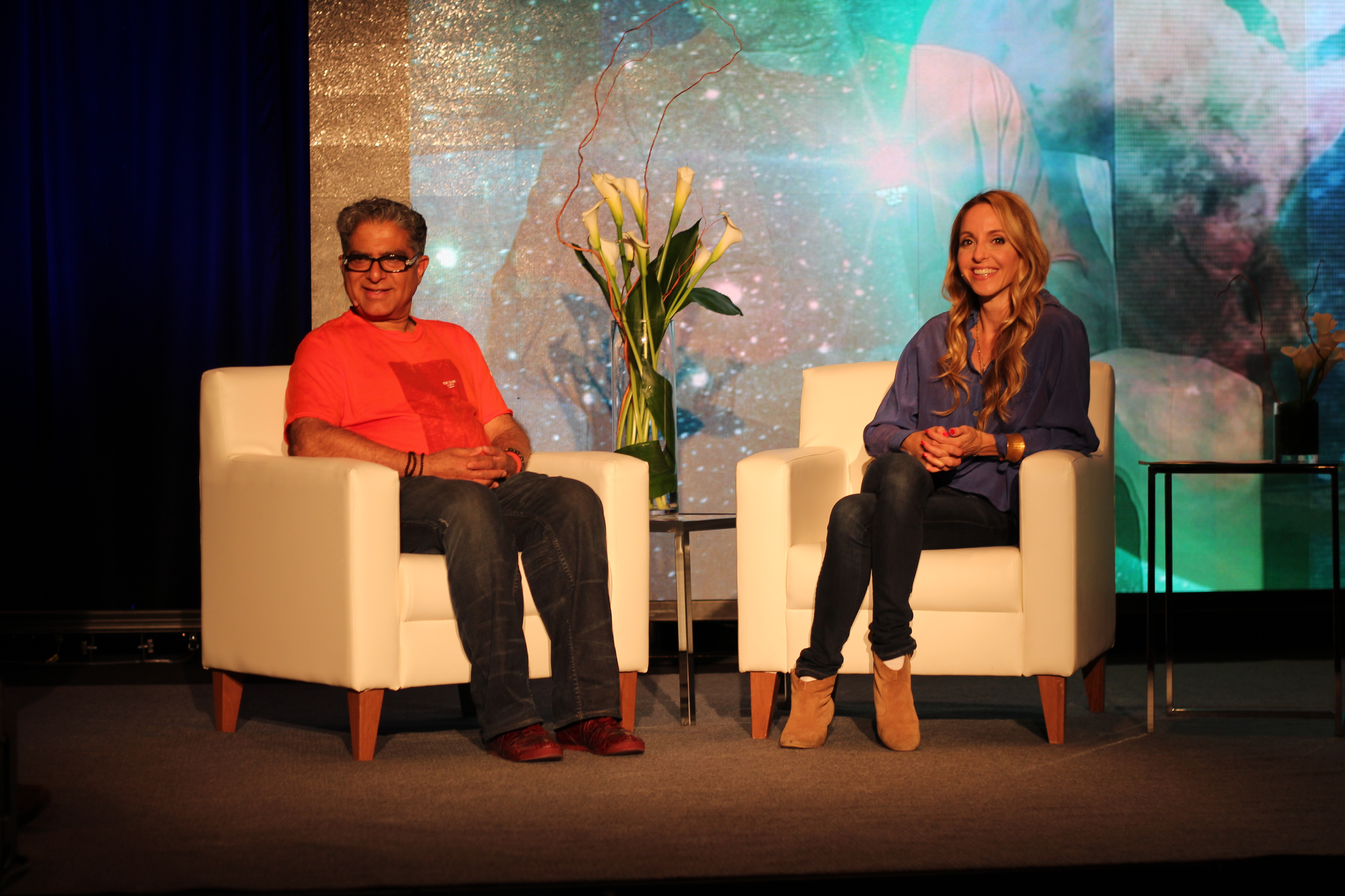 Deepak Chopra and Gabrielle Bernstein at the Global Meditation event in Toronto.