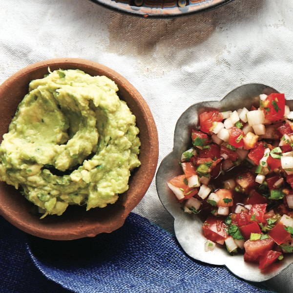 guacamole and pico de gallo in small bowls