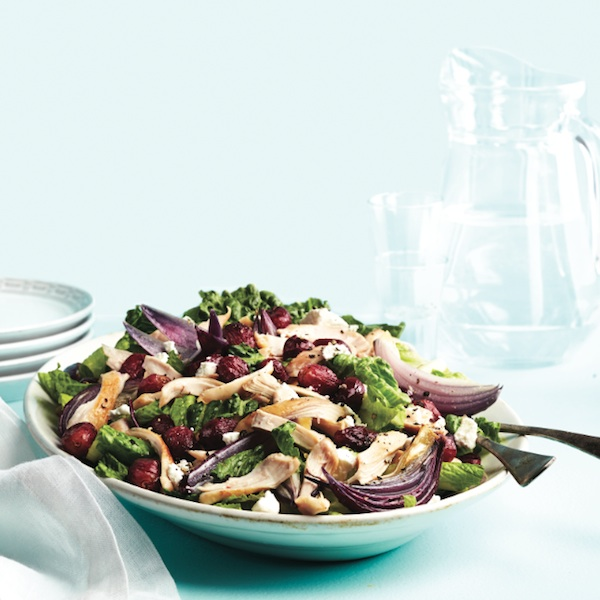 Warm chicken salad with roasted grapes and chèvre