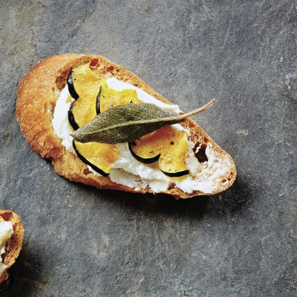 Boursin squash and sage crostini