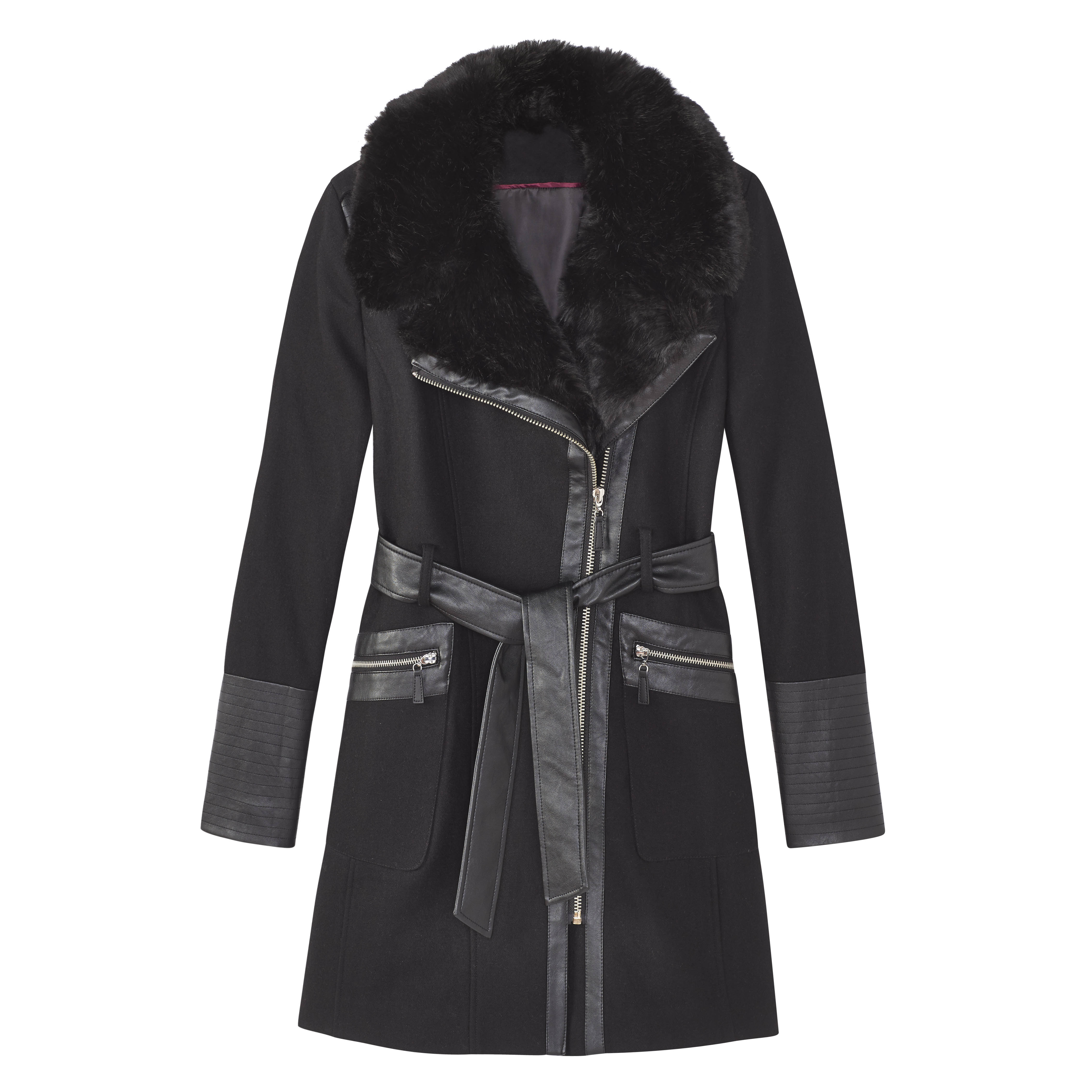 <strong>Belted coat with faux leather trim</strong>