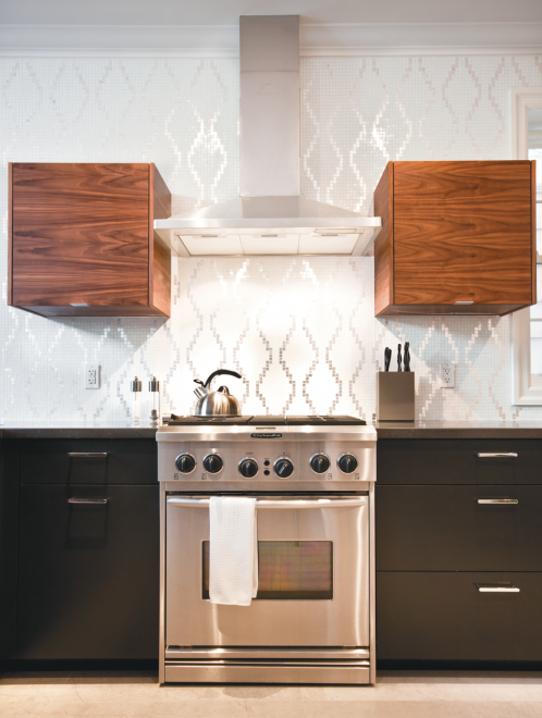 kitchen, oven, hood, stove, wood, black, backsplash