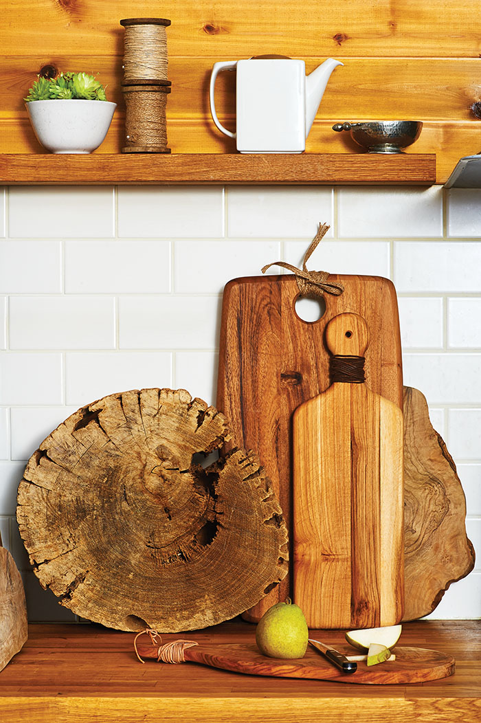 wood cutting boards on kitchen counter leather cords DIY craft