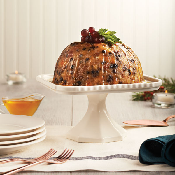 Christmas pudding with brandy-butter sauce