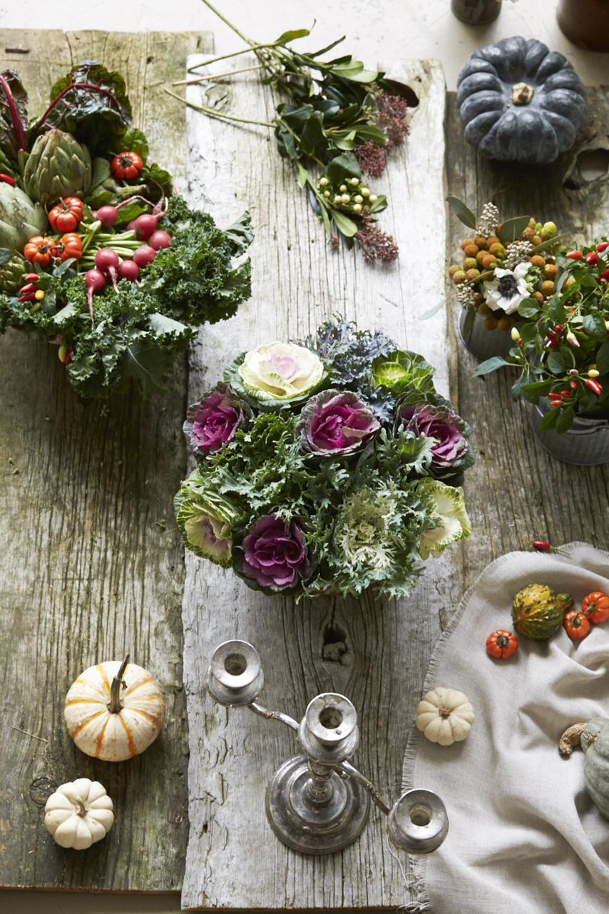 flower veggies greens vegetable centrepiece arrangement