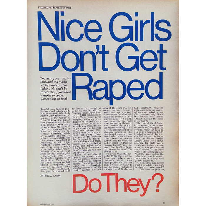 Throwback Thursday: In 1971, we talked about rape and consent