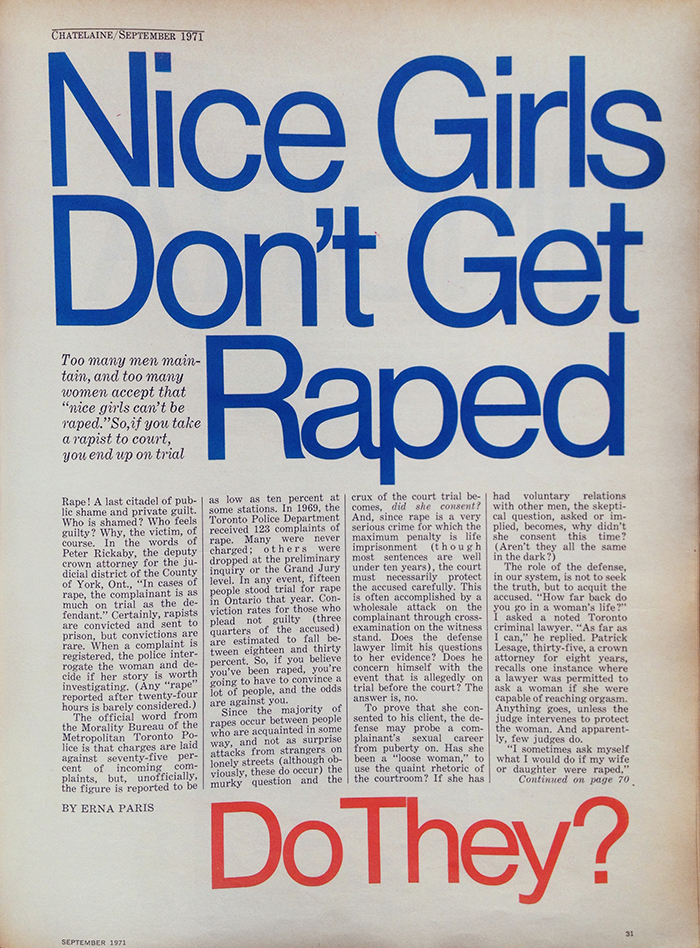 #tbt Nice Girls Don't Get Raped Chatelaine Archives