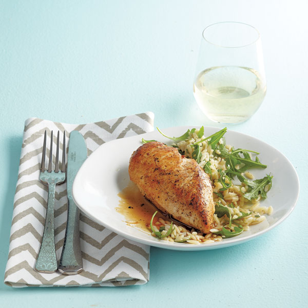 Cider chicken with brown butter orzo