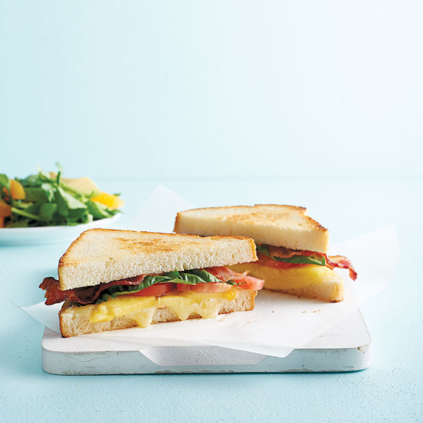 Hawaiian-pizza sandwich with watercress salad