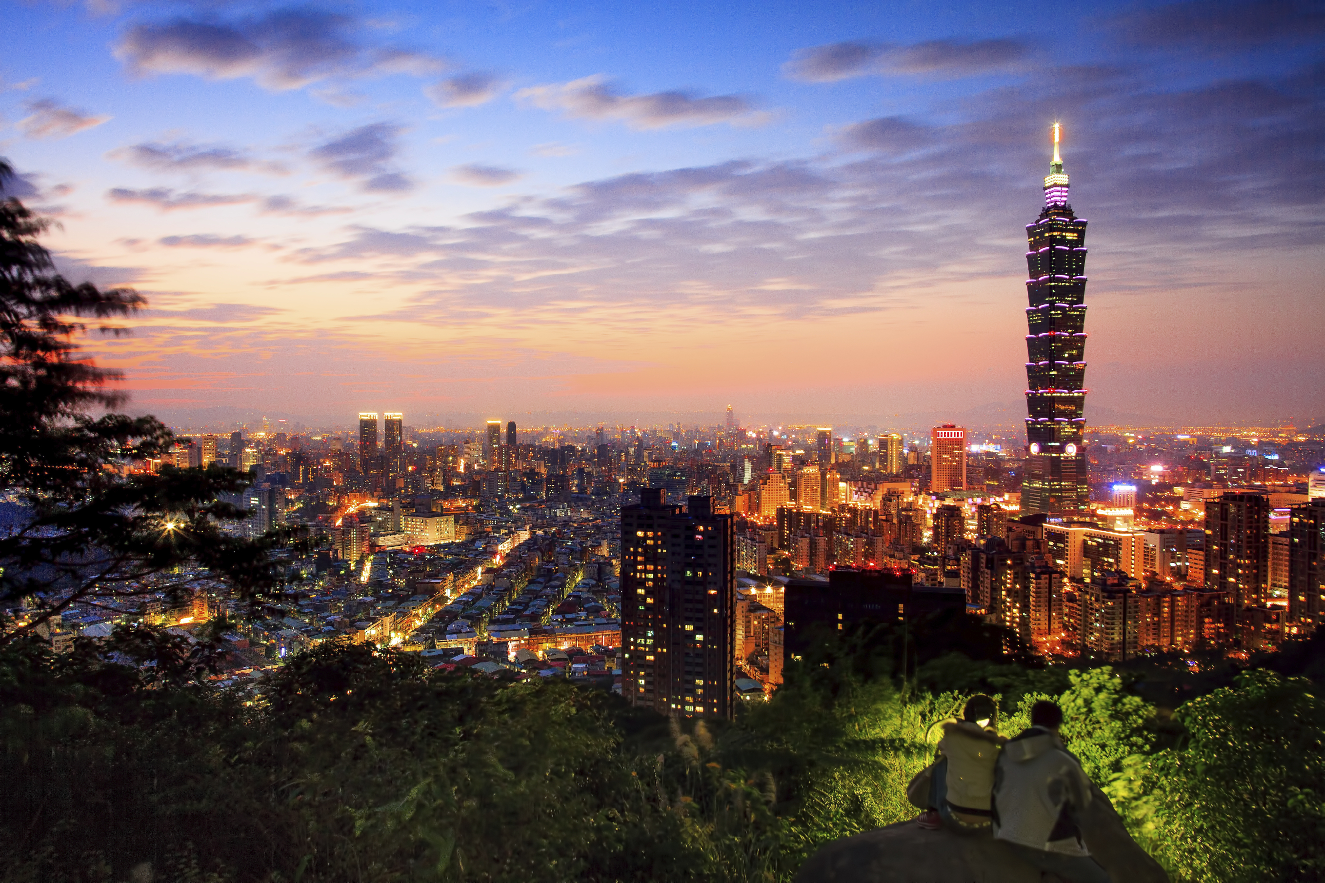 Taipei, capital of Taiwan at dusk.