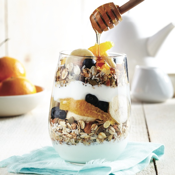 Toasted muesli fruit and yogurt parfait
